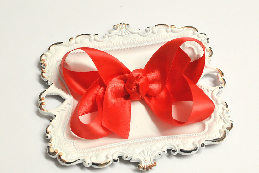 Large Red Satin Boutique Hair Bow