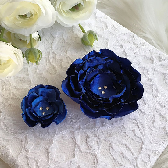 Royal Blue Satin Flower Hair Clip