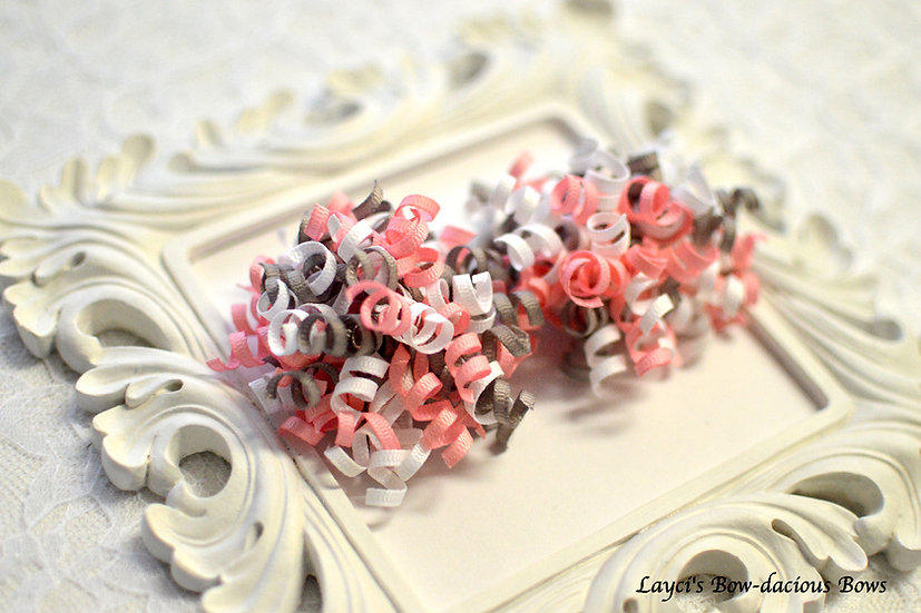 Cute Kitty Petite Korker Hair Bows -grey, pink,white