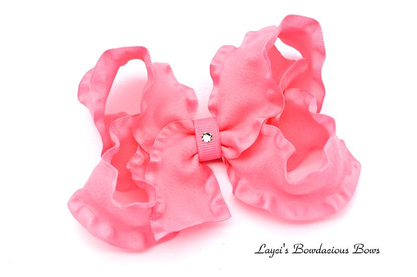 Large Pink Ruffled Hair Bow