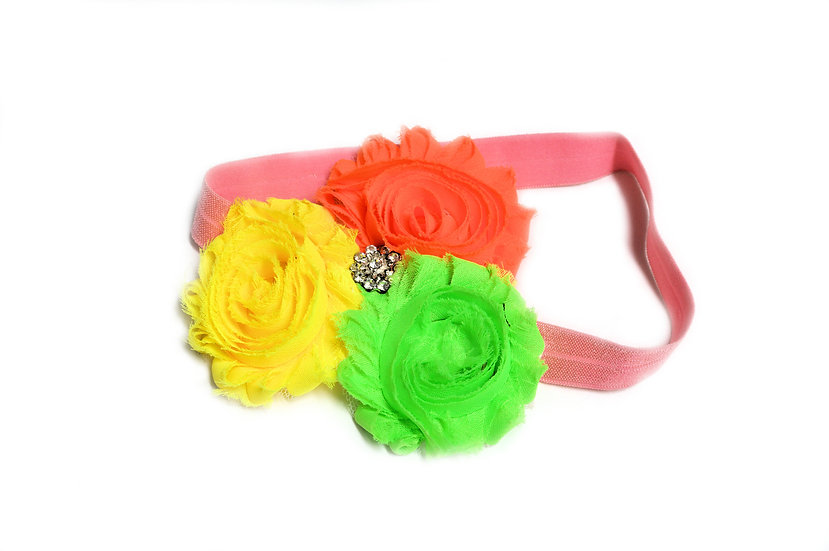 Neon Flower Trio Headband - Ready to Ship - rts1