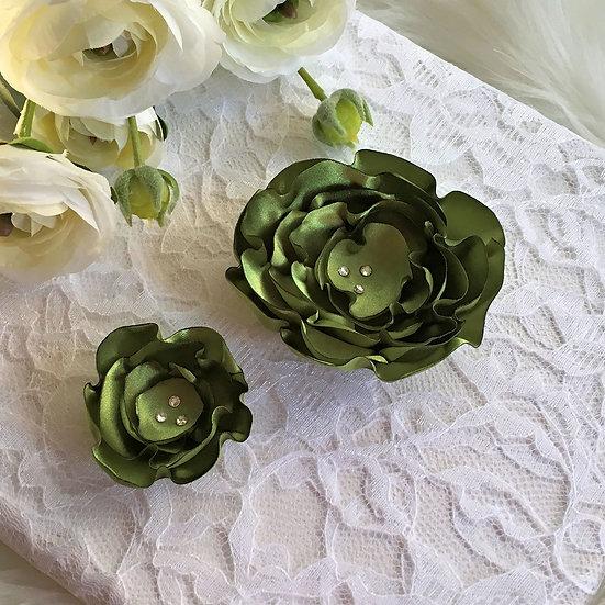 Peridot Green Satin Flower Hair Clip