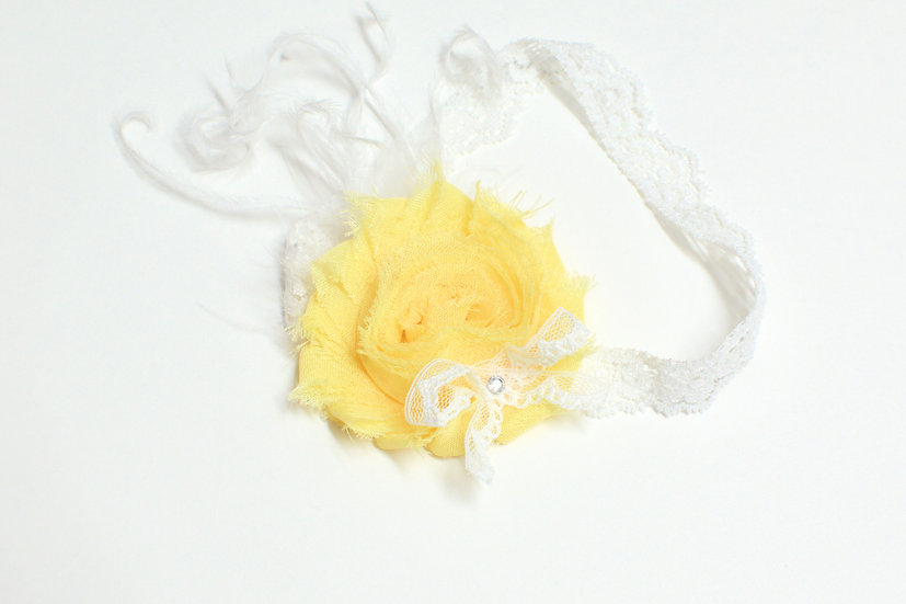 Yellow Shabby Flower Headband - Ready to Ship - rts1