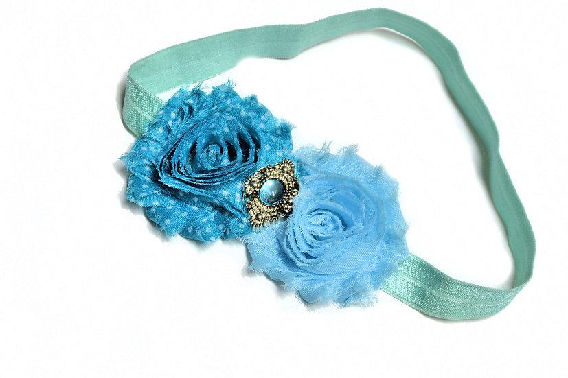 Blue and Aqua Flower Headband - Ready to Ship - rts1