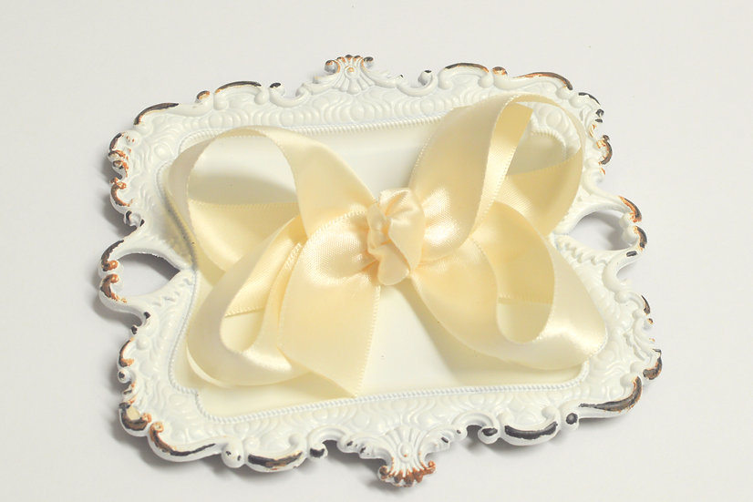 Large Ivory Satin Boutique Hair Bow