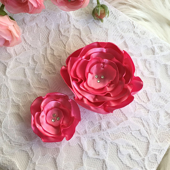 Rose Pink Satin Flower Hair Clip