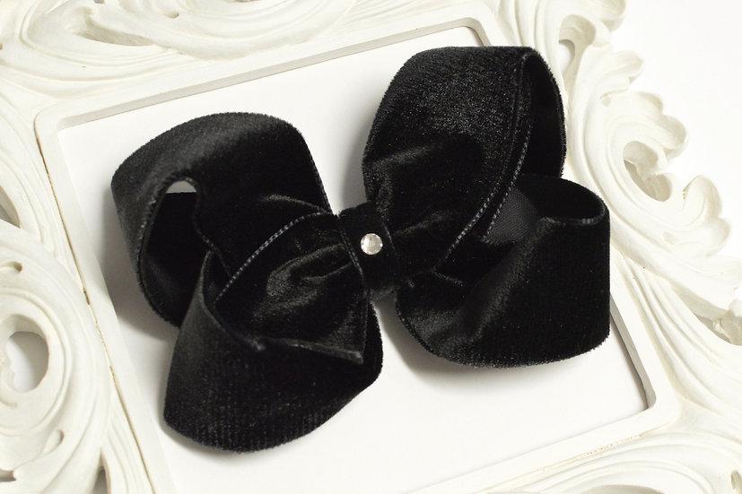Large Black Velvet Boutique Hair Bow