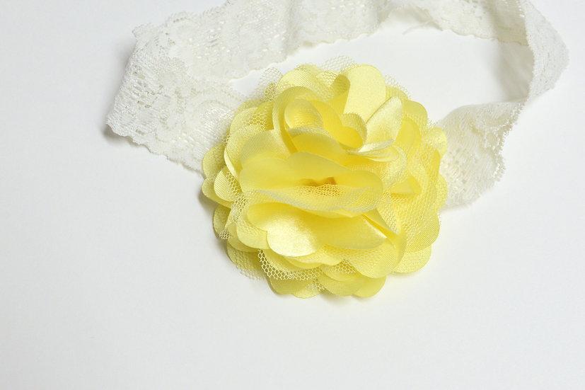 Yellow Puff Flower Headband - Ready to Ship - rts1