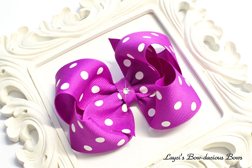 Large Polka Dot Boutique Hair Bow