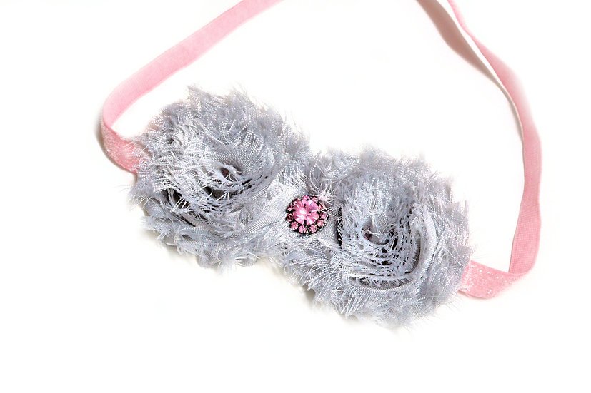 Grey Double Flower Headband - Ready to Ship - rts1