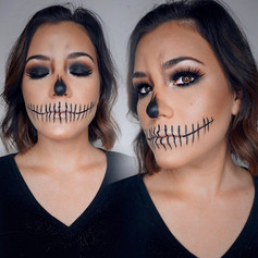☠️💀glam skull 💀☠️ on this Saints fan ⚜️WHO DAT ! 👉🏼👉🏼swipe for makeup in action
