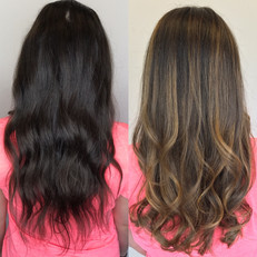Teasy Light hair painting on virgin dark hair / warm tones