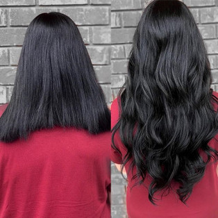 Who wants long hair down to your butt 🍑 in less than an hour 🙋🏻‍♀️🙋🏻‍♀️😱😱 !!! before and after on my girl _taylorleighbeauty ..jpg