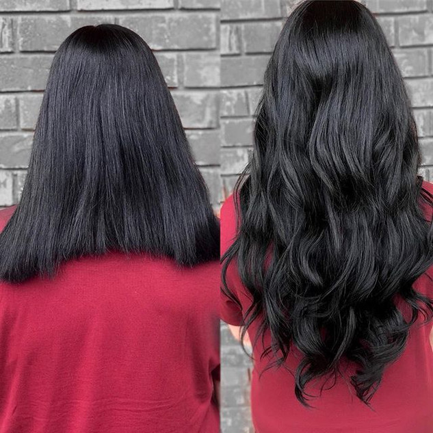 Who wants long hair down to your butt 🍑 in less than an hour 🙋🏻♀️🙋🏻♀️😱😱 !!! before and after on my girl _taylorleighbeauty ..jpg