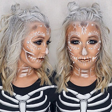 💀☠️white iced glam skull💀☠️ _caiit_ann !! Fun bun hair by _hairbyginger 🙌🏼🙌🏼🙌🏼! 👉🏼👉🏼 swipe for makeup in action 😜😜😜