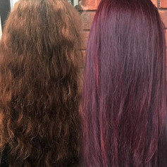Before and after color refresh!!! What a world difference fresh color makes 🙌🏼🙌🏼🙌🏼 loving these bright violet reds for the summer! _Used _sc