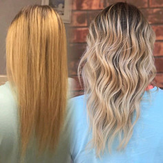 Before and after transformation !!! Transitioned this gorgeous gal from your traditional high maintenance highlight to a more natural low ma
