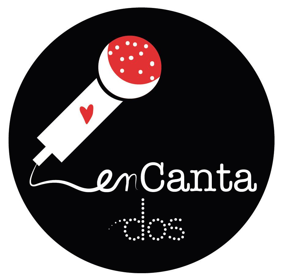 logotipo enCantados flamenco (versión redonda sobre fondo negro)