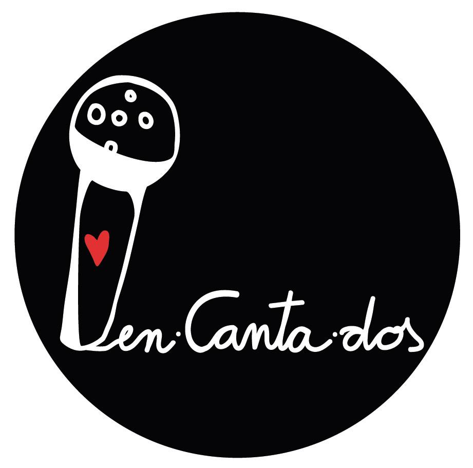 logotipo enCantados infantil (versión redonda sobre fondo negro)