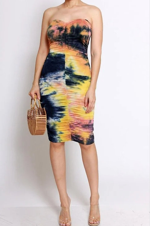 Multi Tie Dye Tube Dress