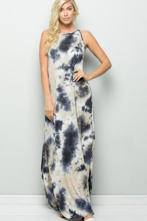 Blue and Grey Maxi Tie Dye