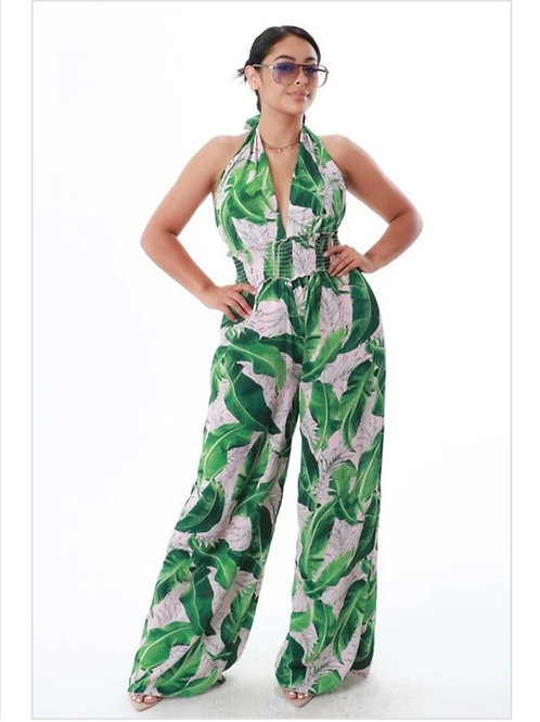 Floral Green and Pink Jumpsuit