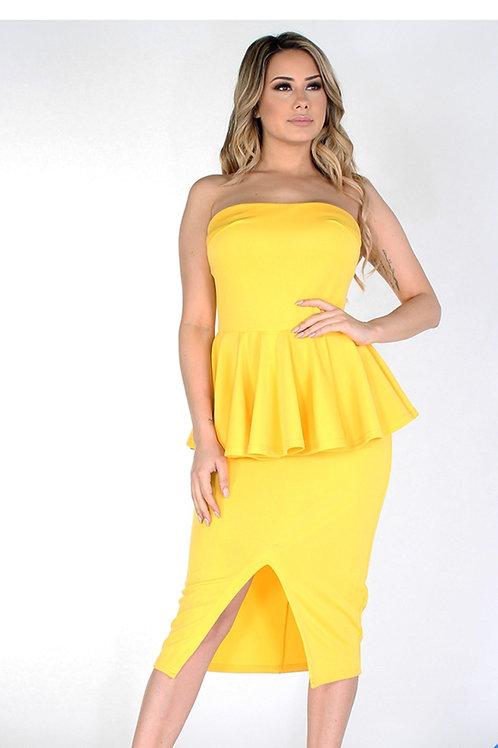 Gold Peplum Dress