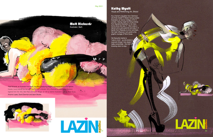 LAZIN MAGAZINE ART EDITION STARRING DRAWING CABARET COUTURE ARTISTS