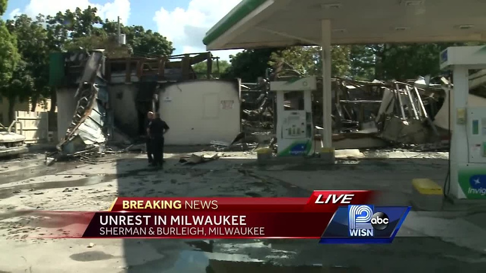 Aftermath of the violence that erupted in Milwaukee on August 13th, 2016