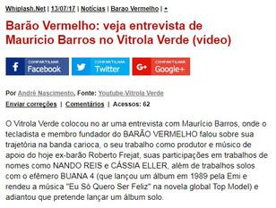 Vitrola Verde no Whiplash - Entrevista com Maurício Barros (Barão Vermelho)