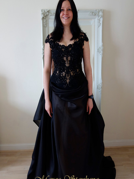 black corset wedding dress