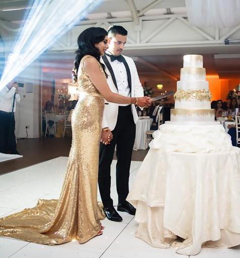 gold sequin wedding dress long train straps