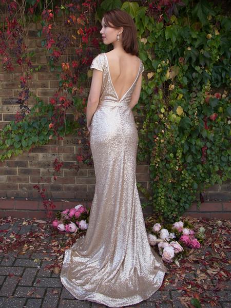 JOHANNA gold sequinned wedding dress with matte finish, low back backless, cap sleeve, long train optional, bridesmaids, formal dress