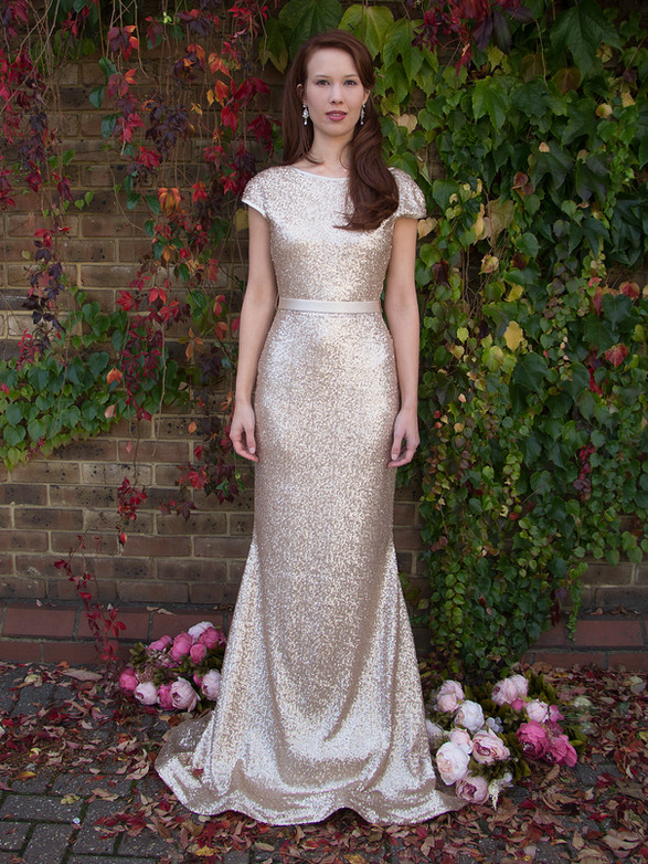 JOHANNA gold sequinned wedding dress with matte finish, low back backless, cap sleeve, long train optional, bridesmaids, formal dress
