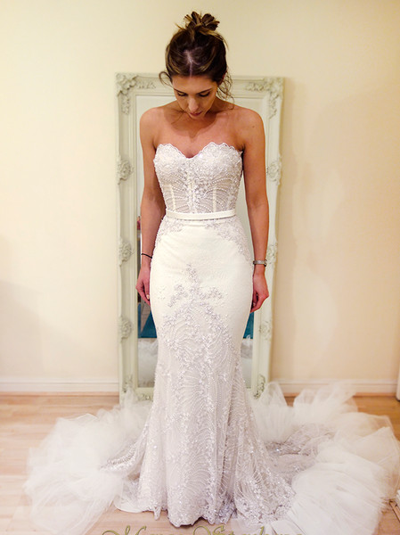 strapless wedding dress fully beaded mermaid fitted