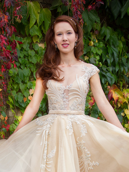 DOROTA pale peach tulle net, silk organza, silk duchess satin, beaded lace wedding dress, prom, formal, ballgown
