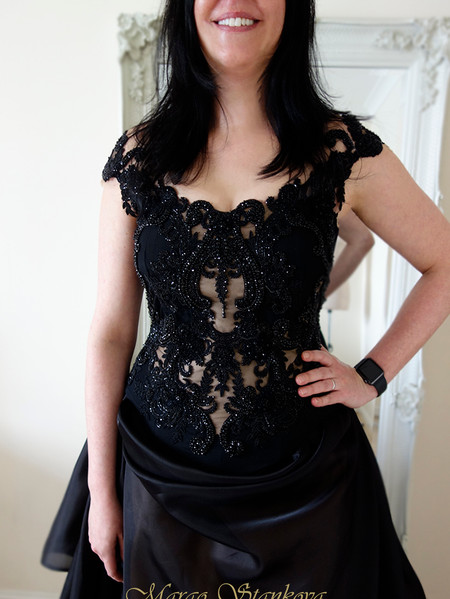black corset wedding dress