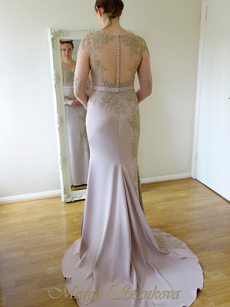 blush pink gold wedding evening dress, illusion back, long sleeve, fully beaded