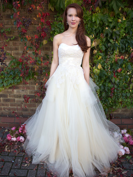 PEONY pale peach full tulle skirt, pearl fully beaded chantilly lace corset strapless bodice, silk duchess satin, leather belt, zip at the back, decorative buttons wedding dress prom formal ballgown