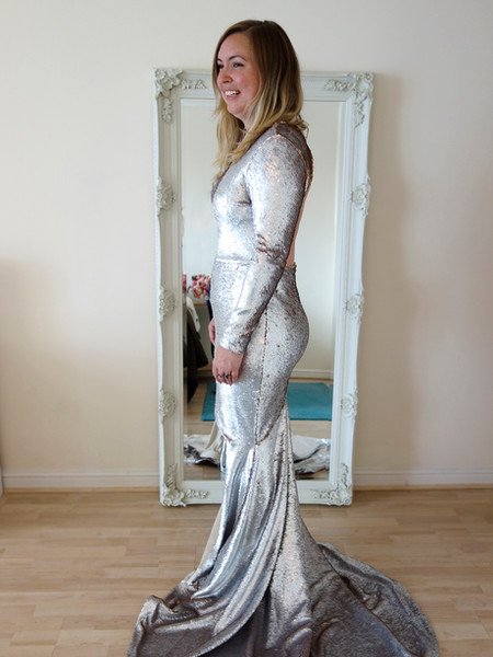 silver gold sequin wedding dress