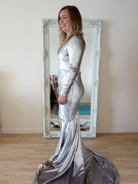 silver gold sequin wedding dress