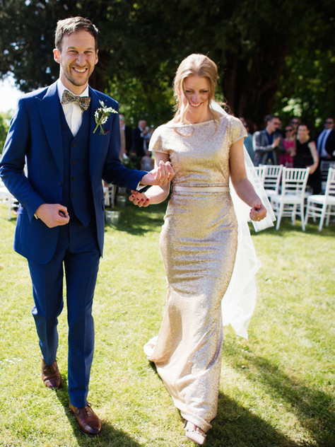 gold sequin wedding dress long train fitted mermaid