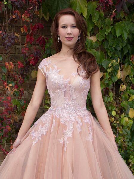 DOROTA PINK blush tulle net, silk organza, silk duchess satin, beaded lace wedding dress, prom, formal, ballgown