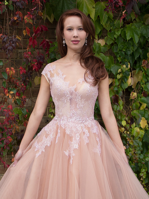DOROTA PINK blush tulle net, silk organza, silk duchess satin, beaded lace wedding dress, prom, formal, ballgown