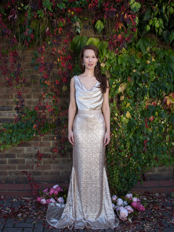 EMODI gold sequinned skirt, silk crepe satin top, beaded lace, cowl illusion neckline, cowl back, long train, wedding, formal gown, non traditional, alternative