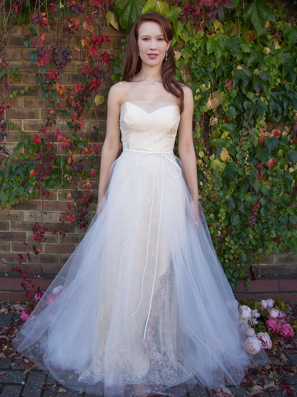 ROSELETTE shell pink lace, silk organza, silk satin, full illusion tulle skirt, strapless corset bodice, wedding dress, formal gown, prom dress