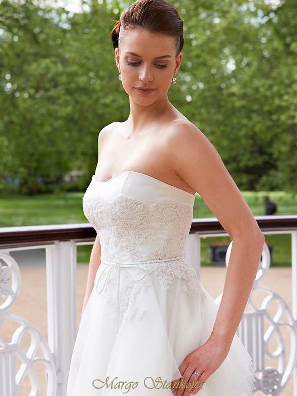PEONY full skirt ivory tulle, pearl fully beaded chantilly lace corset strapless, silk duchess satin, fine leather belt