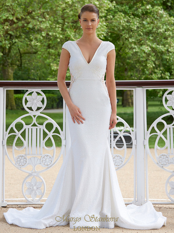 JASMINE sequin wedding dress, low back backless, chantilly lace, silk flower petals, beads and crystal embellishment, cap sleeve, long dramatic train, alternative, non traditional