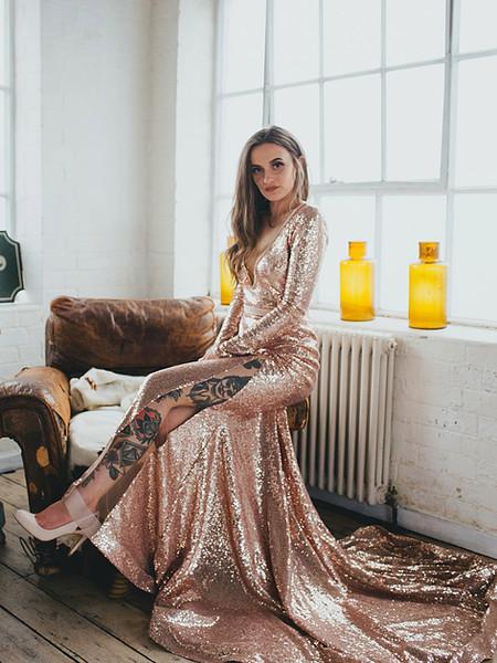 NINA pink sequinned wedding dress, extra long dramatic train, long sleeve, low back backless, satin belt, illusion V neckline, illusion split