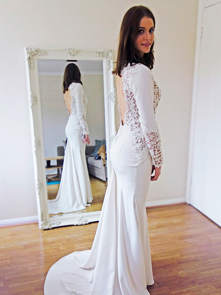 long sleeve wedding dress mermaid